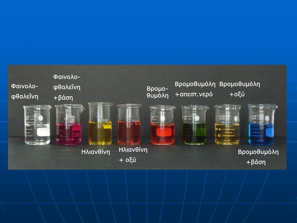 Φαινολο- φθαλεΐνη. +βάση. Βρομοθυμόλη. +απεστ.νερό. Βρομοθυμόλη. +οξύ. Φαινολο- φθαλεΐνη. Βρομο-θυμόλη.