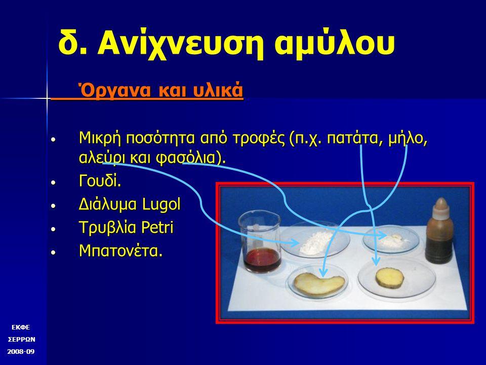 δ. Ανίχνευση αμύλου Όργανα και υλικά