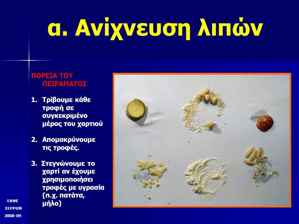 α. Ανίχνευση λιπών ΠΟΡΕΙΑ ΤΟY ΠΕΙΡΑΜΑΤΟΣ