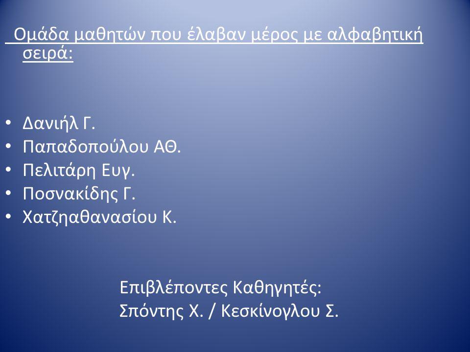 Ομάδα μαθητών που έλαβαν μέρος με αλφαβητική σειρά: