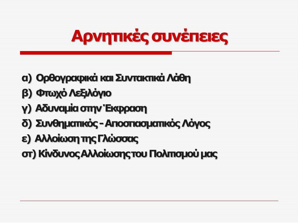 Αρνητικές συνέπειες α) Ορθογραφικά και Συντακτικά Λάθη