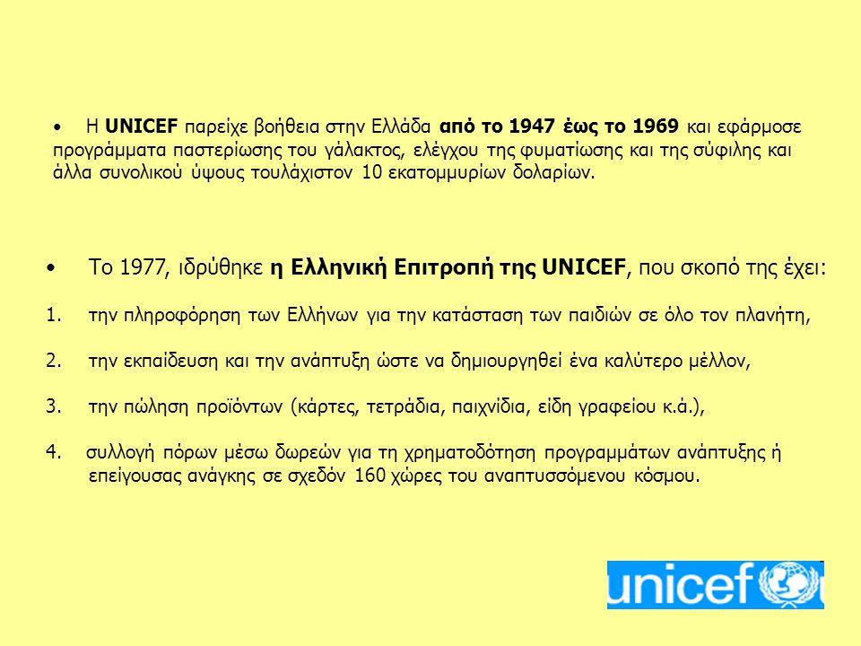 Το 1977, ιδρύθηκε η Ελληνική Επιτροπή της UNICEF, που σκοπό της έχει:
