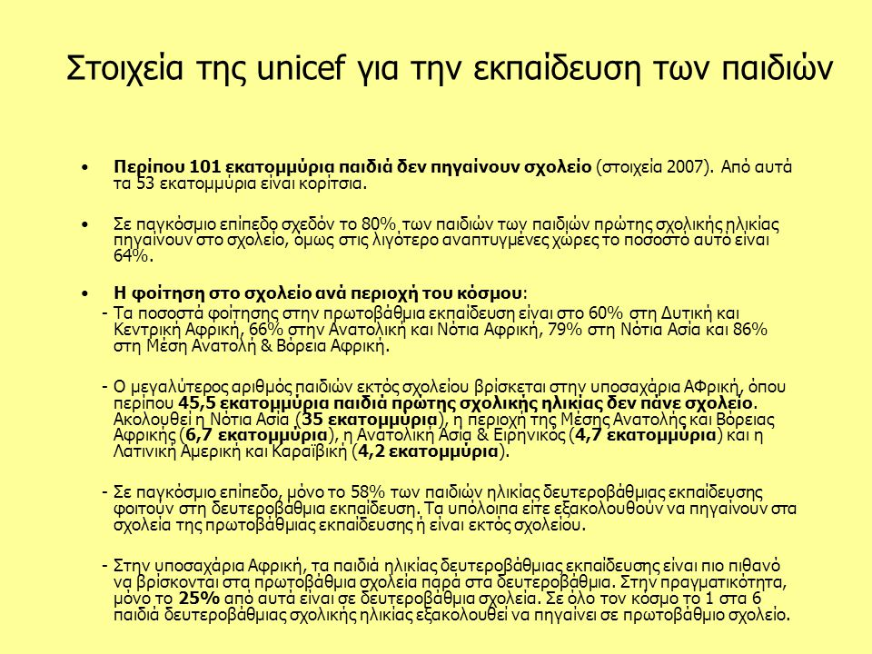 Στοιχεία της unicef για την εκπαίδευση των παιδιών