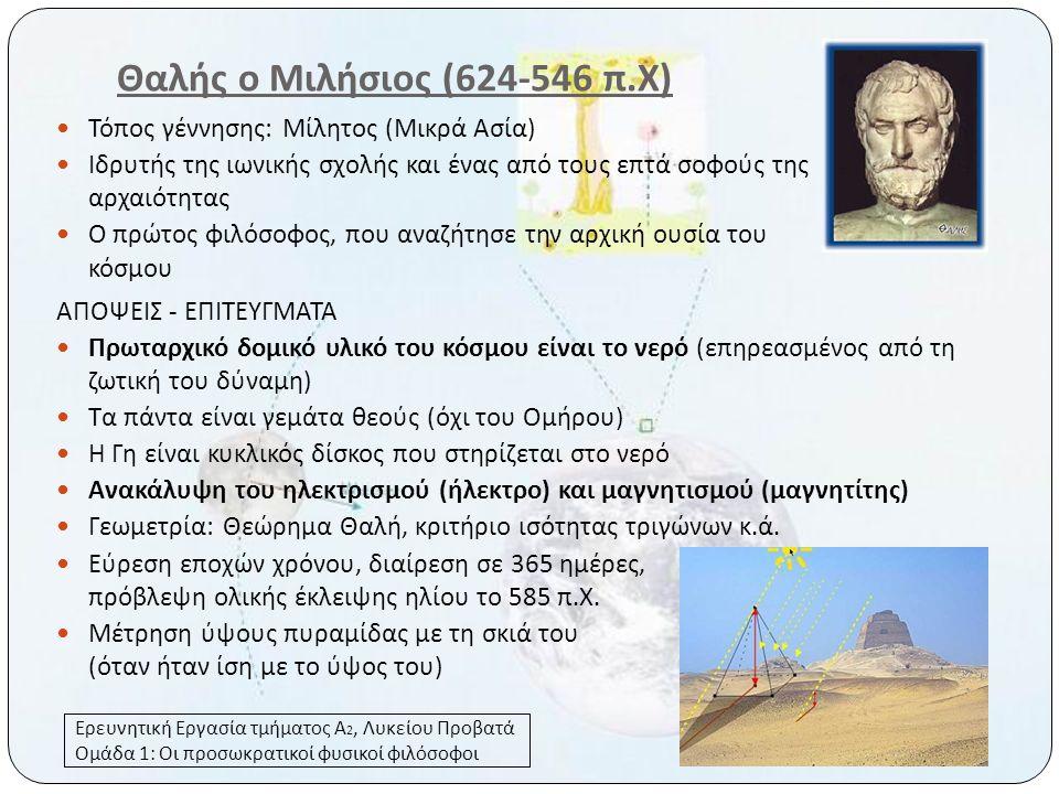 Θαλής ο Μιλήσιος (624-546 π.Χ) Τόπος γέννησης: Μίλητος (Μικρά Ασία)