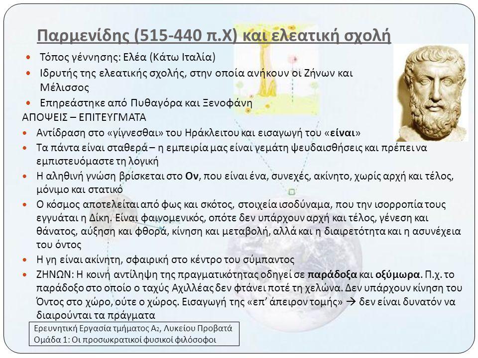 Παρμενίδης (515-440 π.Χ) και ελεατική σχολή
