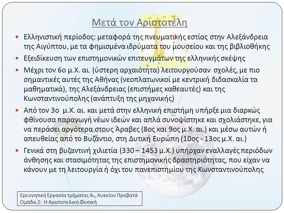 Μετά τον Αριστοτέλη