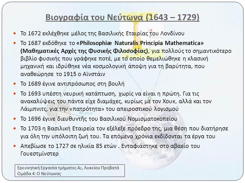 Βιογραφία του Νεύτωνα (1643 – 1729)