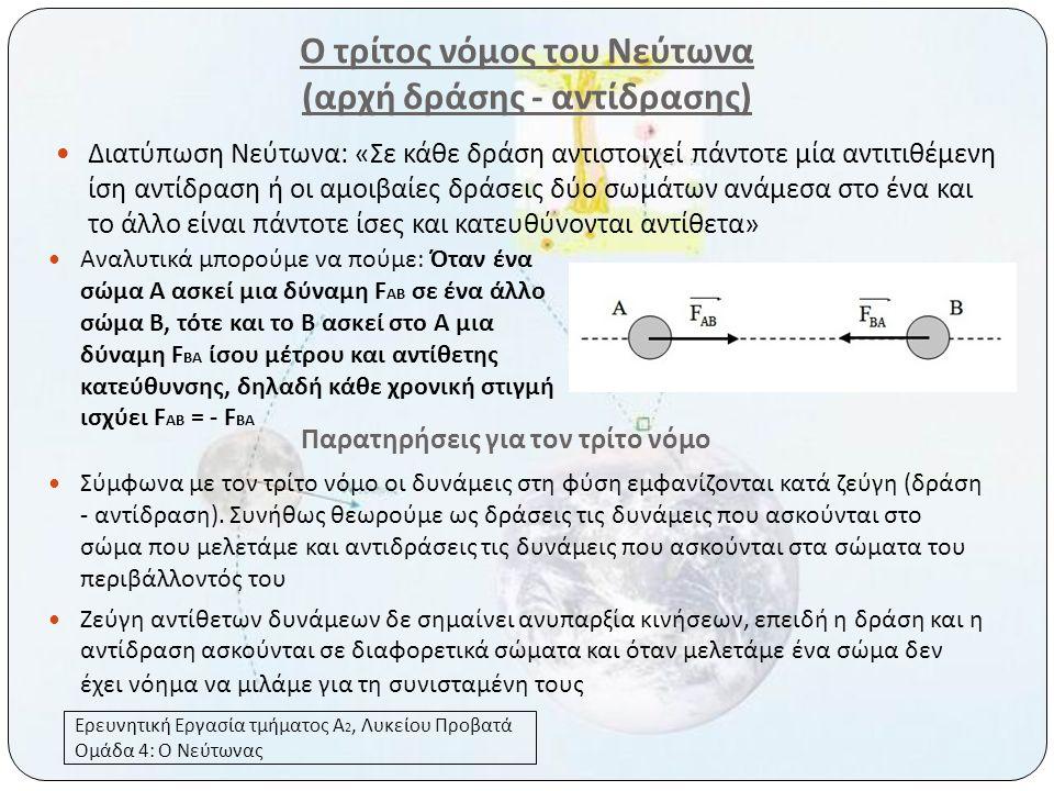 Ο τρίτος νόμος του Νεύτωνα (αρχή δράσης - αντίδρασης)