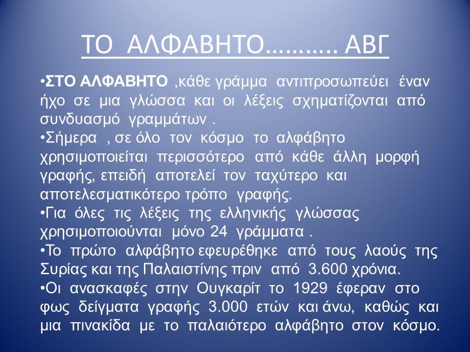 ΤΟ ΑΛΦΑΒΗΤΟ……….. ΑΒΓ