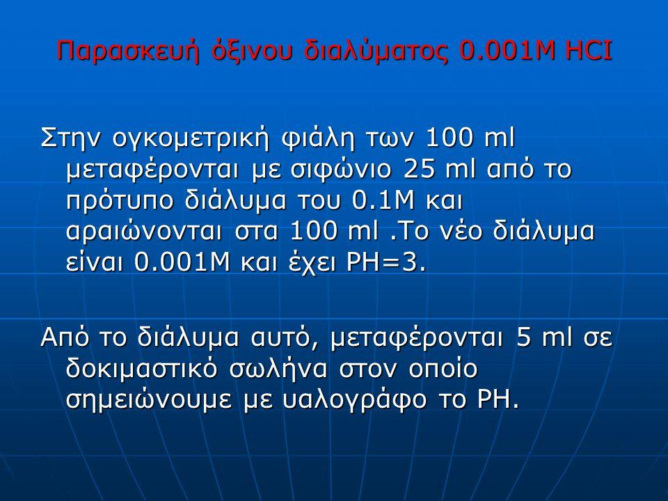Παρασκευή όξινου διαλύματος 0.001M HCI