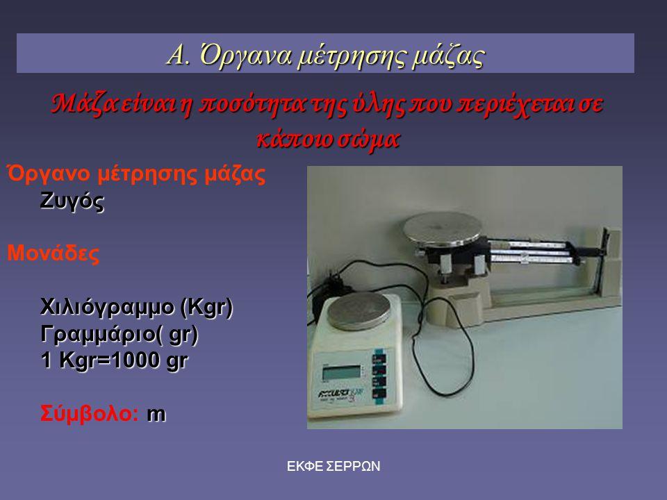 Α. Όργανα μέτρησης μάζας