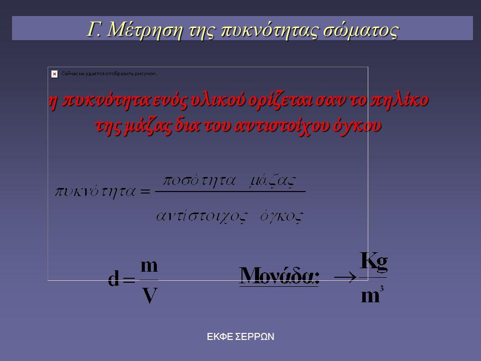 Γ. Μέτρηση της πυκνότητας σώματος