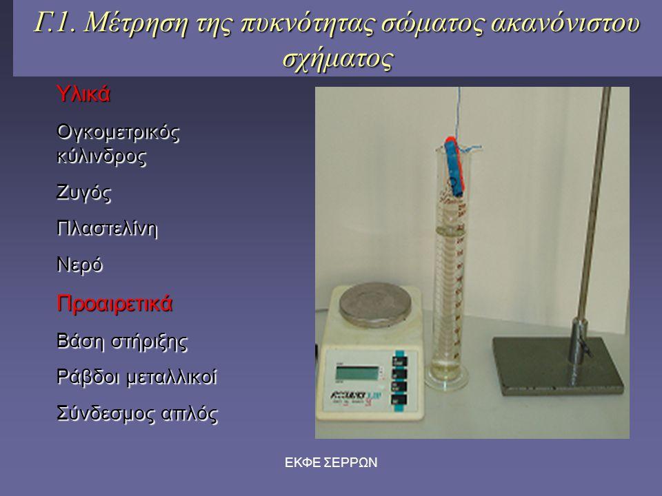 Γ.1. Μέτρηση της πυκνότητας σώματος ακανόνιστου σχήματος