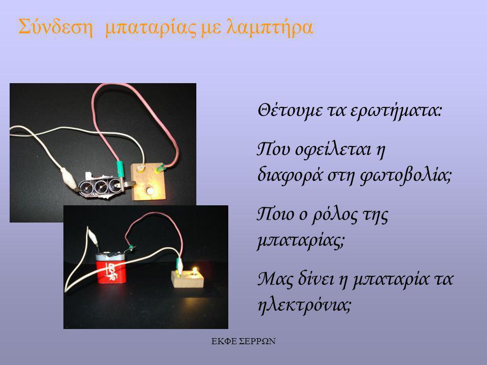 Σύνδεση μπαταρίας με λαμπτήρα