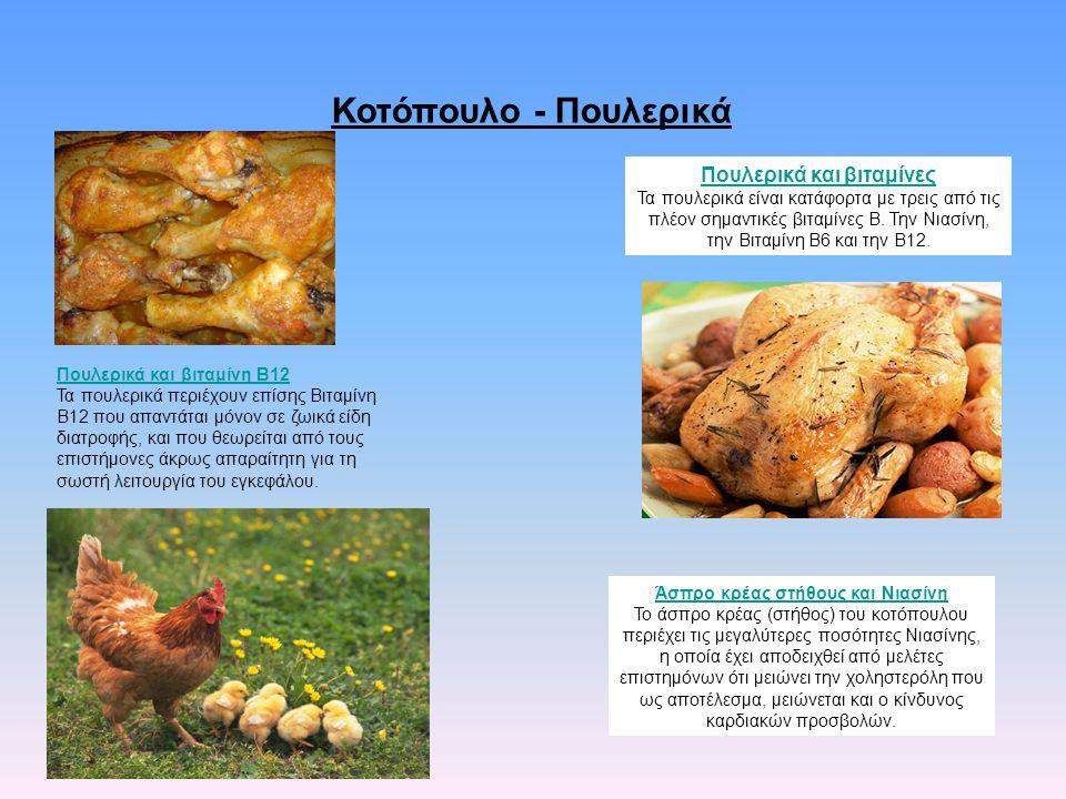 Πουλερικά και βιταμίνες Άσπρο κρέας στήθους και Νιασίνη