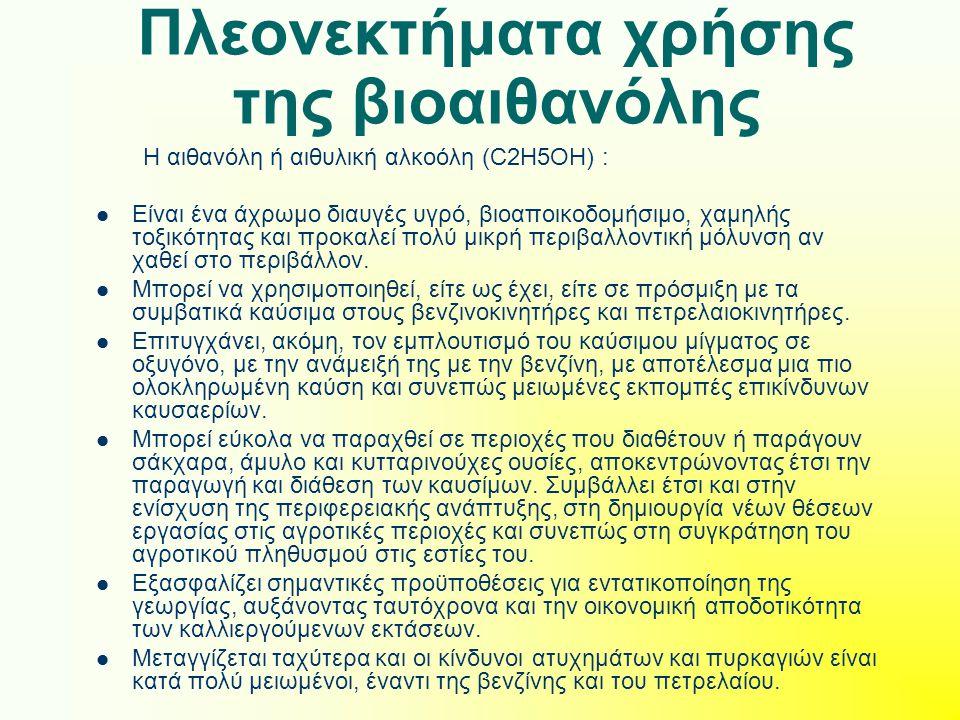 Πλεονεκτήματα χρήσης της βιοαιθανόλης
