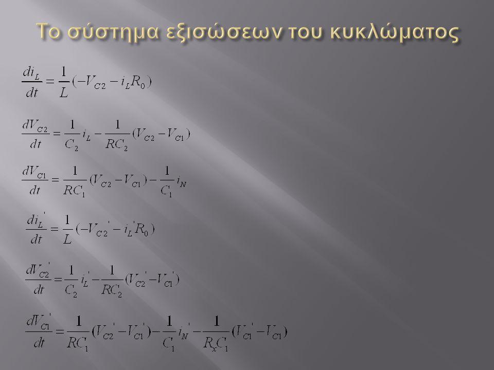 Το σύστημα εξισώσεων του κυκλώματος