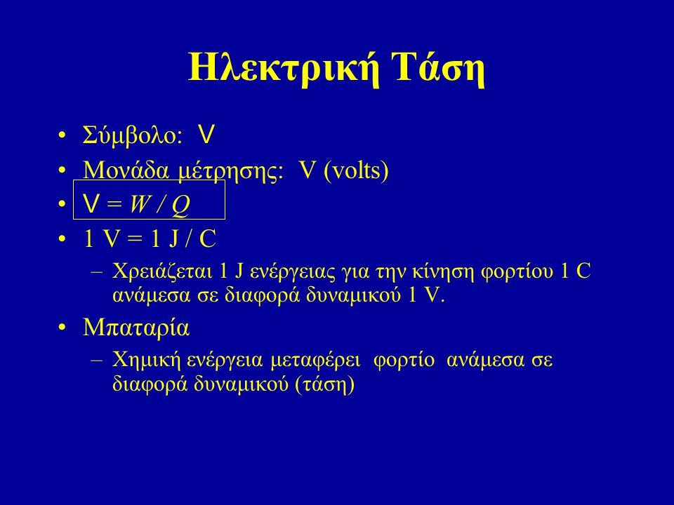 Ηλεκτρική Τάση Σύμβολο: V Μονάδα μέτρησης: V (volts) V = W / Q