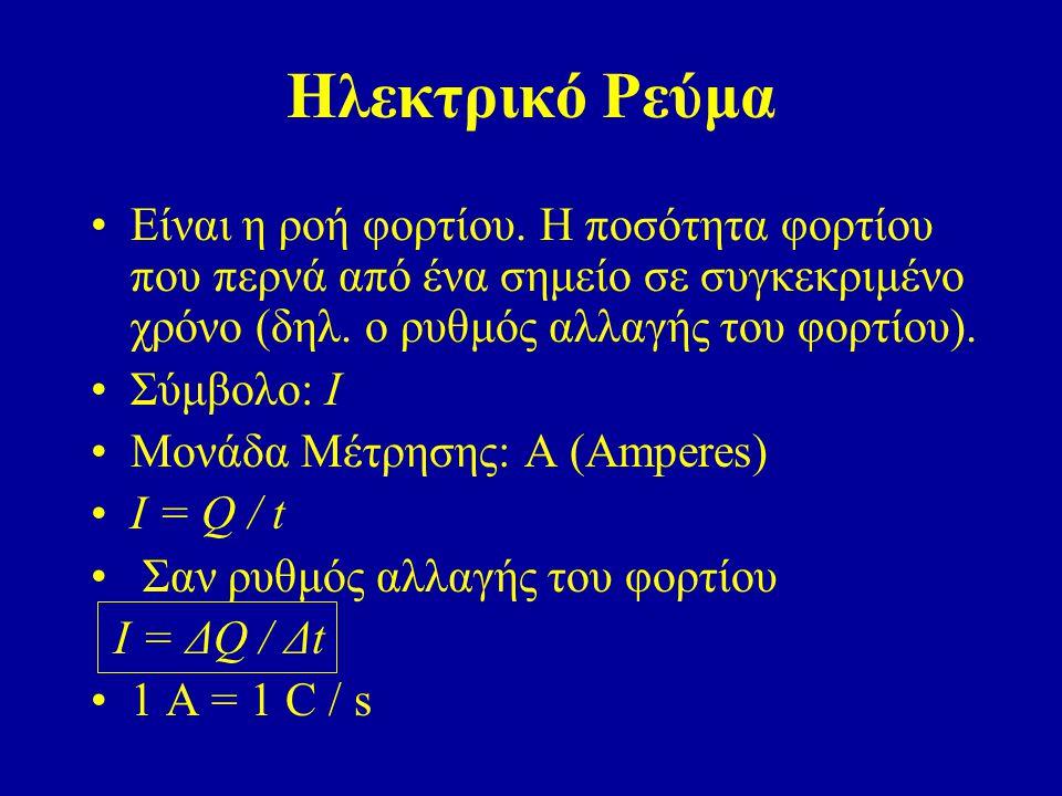 Ηλεκτρικό Ρεύμα Είναι η ροή φορτίου. Η ποσότητα φορτίου που περνά από ένα σημείο σε συγκεκριμένο χρόνο (δηλ. ο ρυθμός αλλαγής του φορτίου).