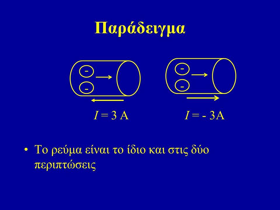 Παράδειγμα - Ι = - 3Α - Ι = 3 Α Το ρεύμα είναι το ίδιο και στις δύο περιπτώσεις