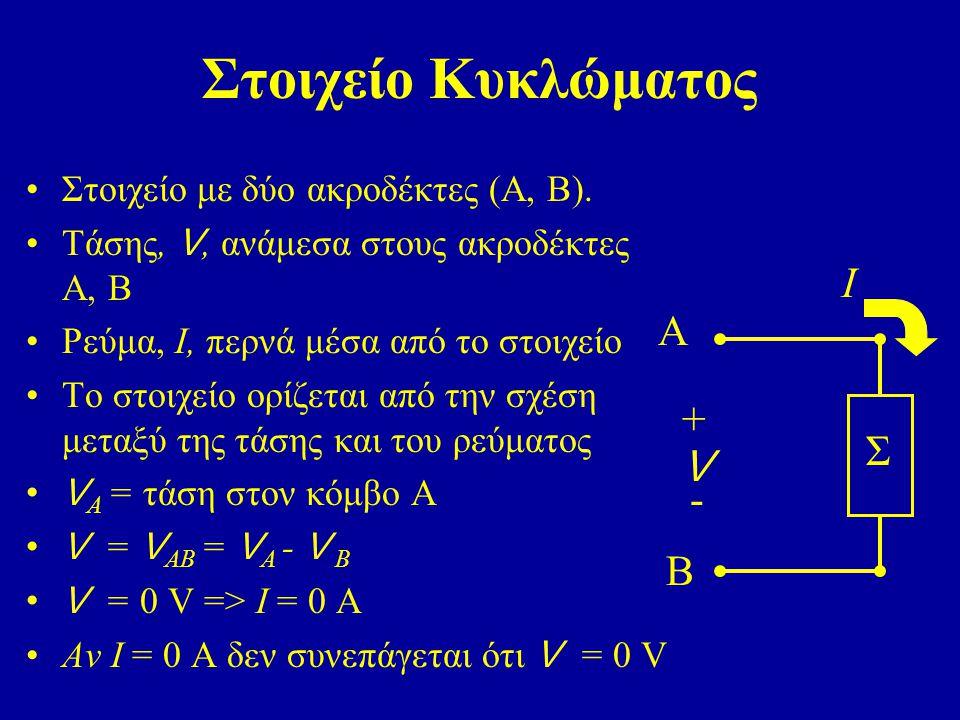 Στοιχείο Κυκλώματος Ι A + Σ V - B Στοιχείο με δύο ακροδέκτες (Α, Β).
