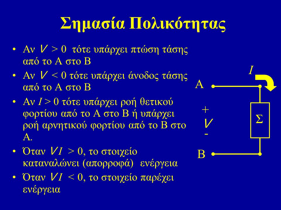 Σημασία Πολικότητας Ι A + Σ V - B