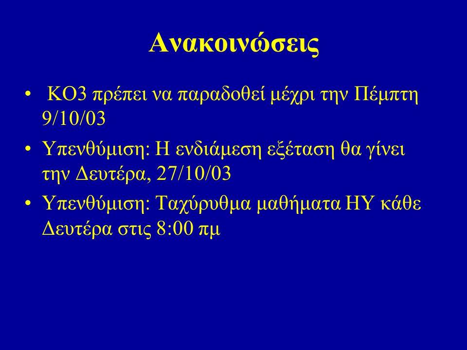 Ανακοινώσεις ΚΟ3 πρέπει να παραδοθεί μέχρι την Πέμπτη 9/10/03