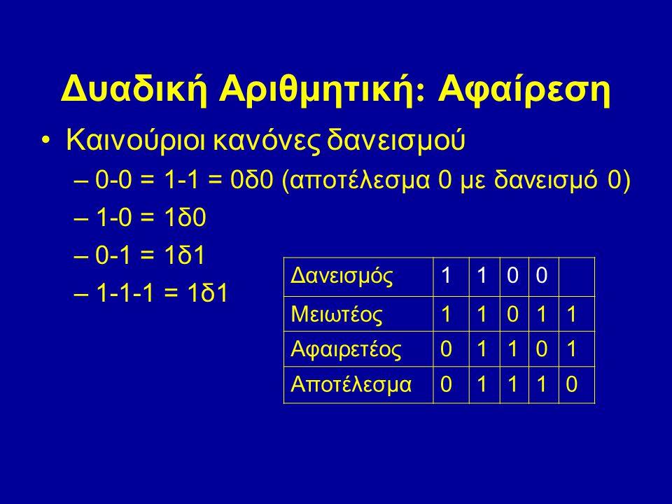 Δυαδική Αριθμητική: Αφαίρεση