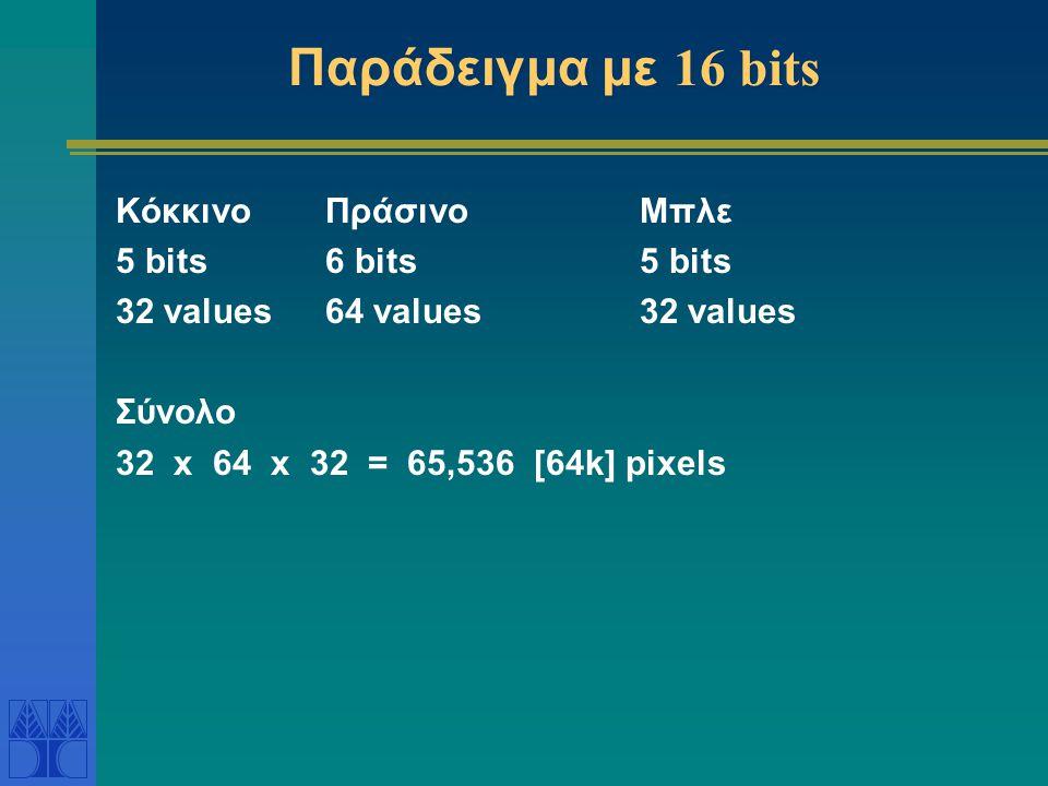 Παράδειγμα με 16 bits Κόκκινο Πράσινο Μπλε 5 bits 6 bits 5 bits
