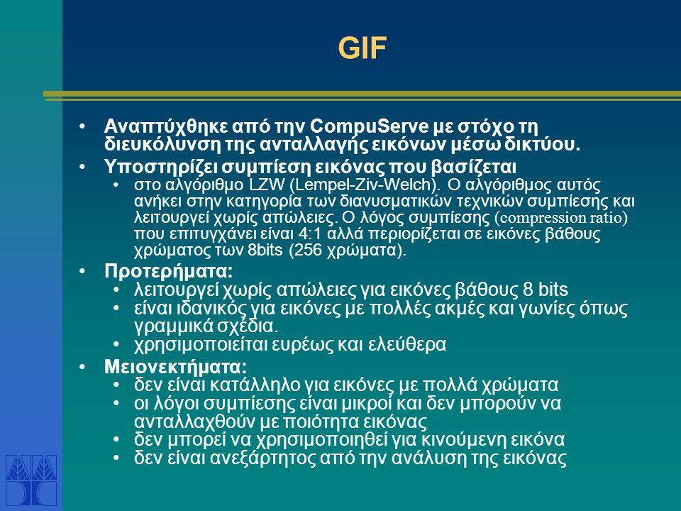 GIF Αναπτύχθηκε από την CompuServe με στόχο τη διευκόλυνση της ανταλλαγής εικόνων μέσω δικτύου. Υποστηρίζει συμπίεση εικόνας που βασίζεται.