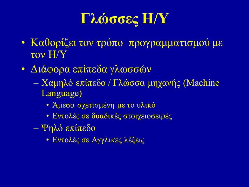 Γλώσσες Η/Υ Καθορίζει τον τρόπο προγραμματισμού με τον Η/Υ