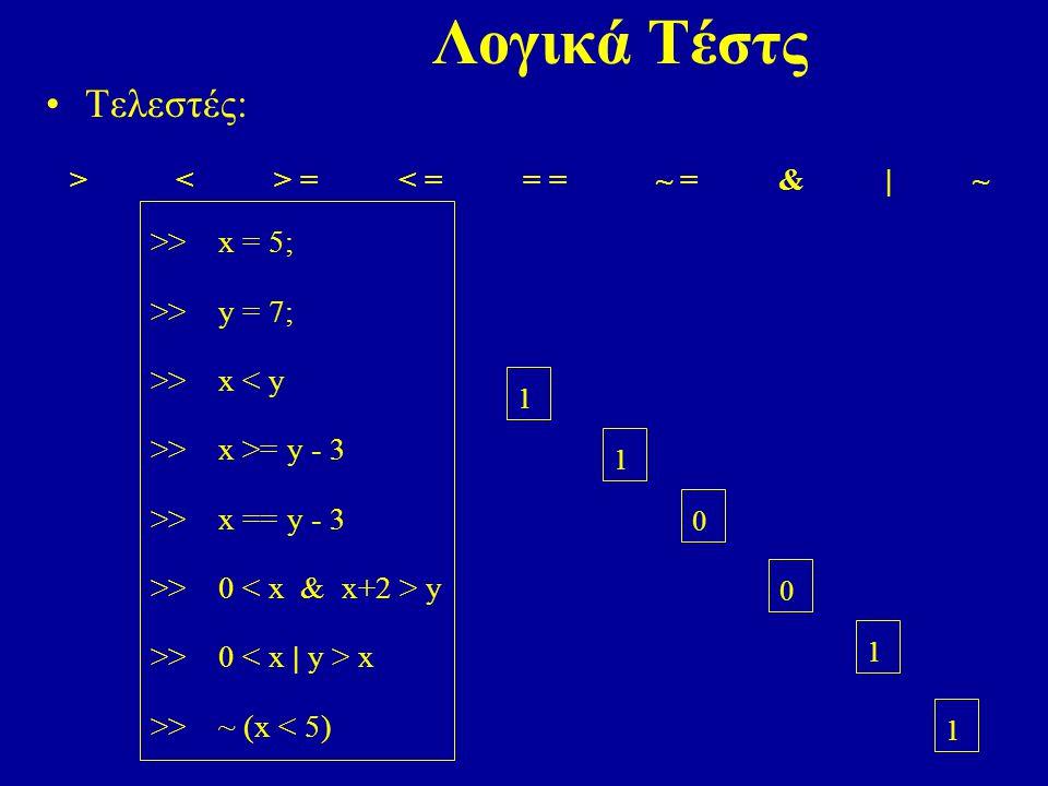 Λογικά Τέστς Τελεστές: > < > = < = = = ~ = & | ~