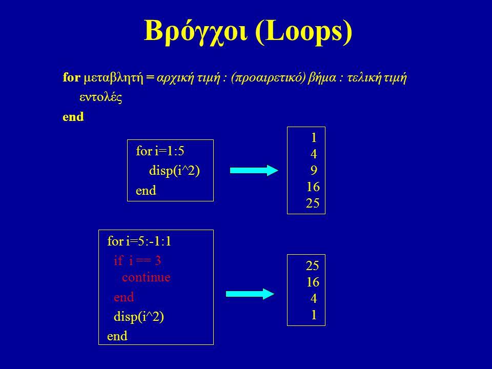 Βρόγχοι (Loops) for μεταβλητή = αρχική τιμή : (προαιρετικό) βήμα : τελική τιμή. εντολές. end. 1.