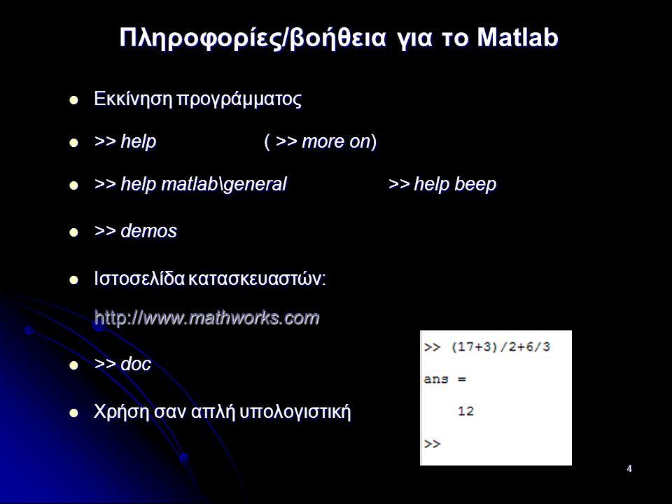 Πληροφορίες/βοήθεια για το Matlab