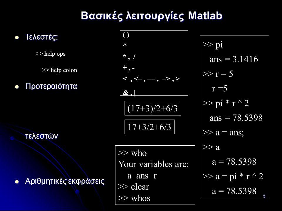 Βασικές λειτουργίες Matlab