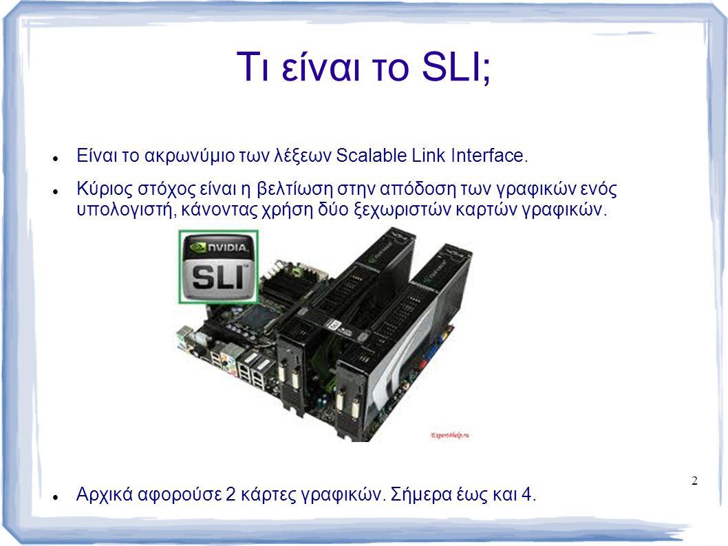 Τι είναι το SLI; Είναι το ακρωνύμιο των λέξεων Scalable Link Interface.