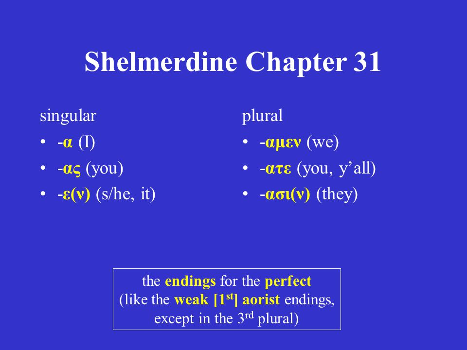 Shelmerdine Chapter 31 singular -α (I) -ας (you) -ε(ν) (s/he, it)