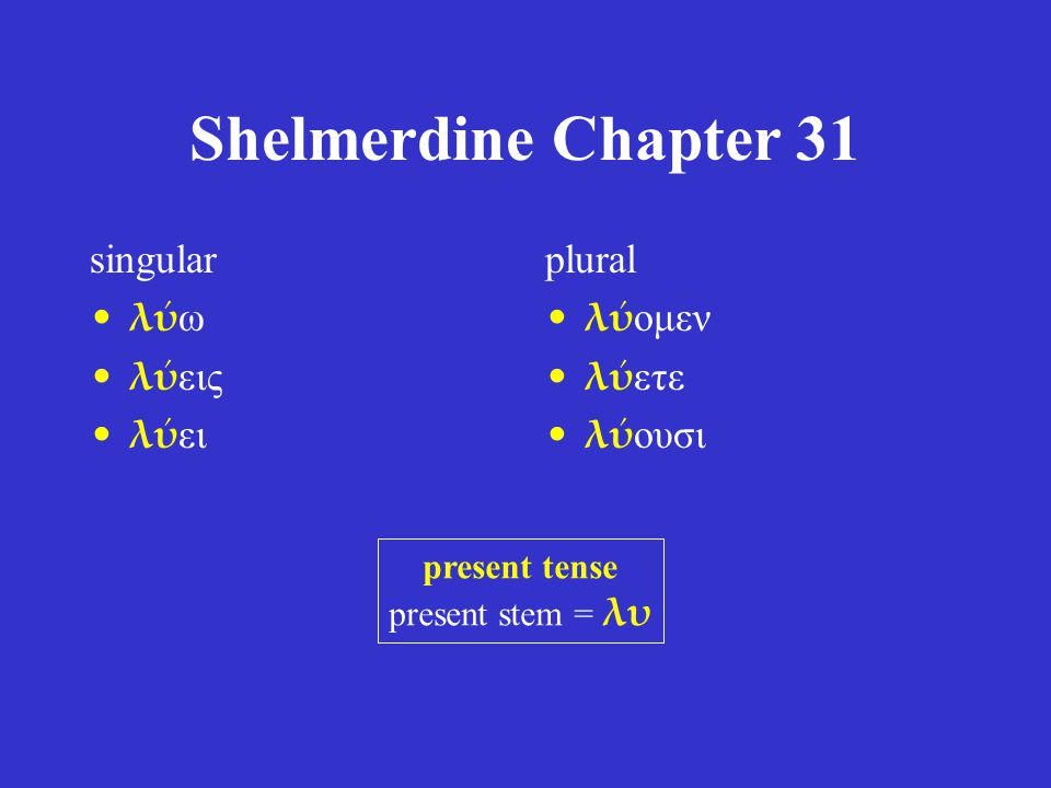 Shelmerdine Chapter 31 singular λύω λύεις λύει plural λύομεν λύετε