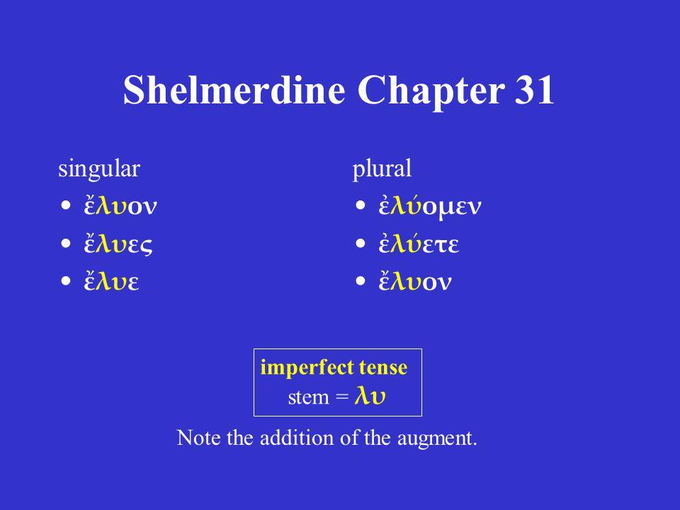 Shelmerdine Chapter 31 singular ἔλυον ἔλυες ἔλυε plural ἐλύομεν ἐλύετε