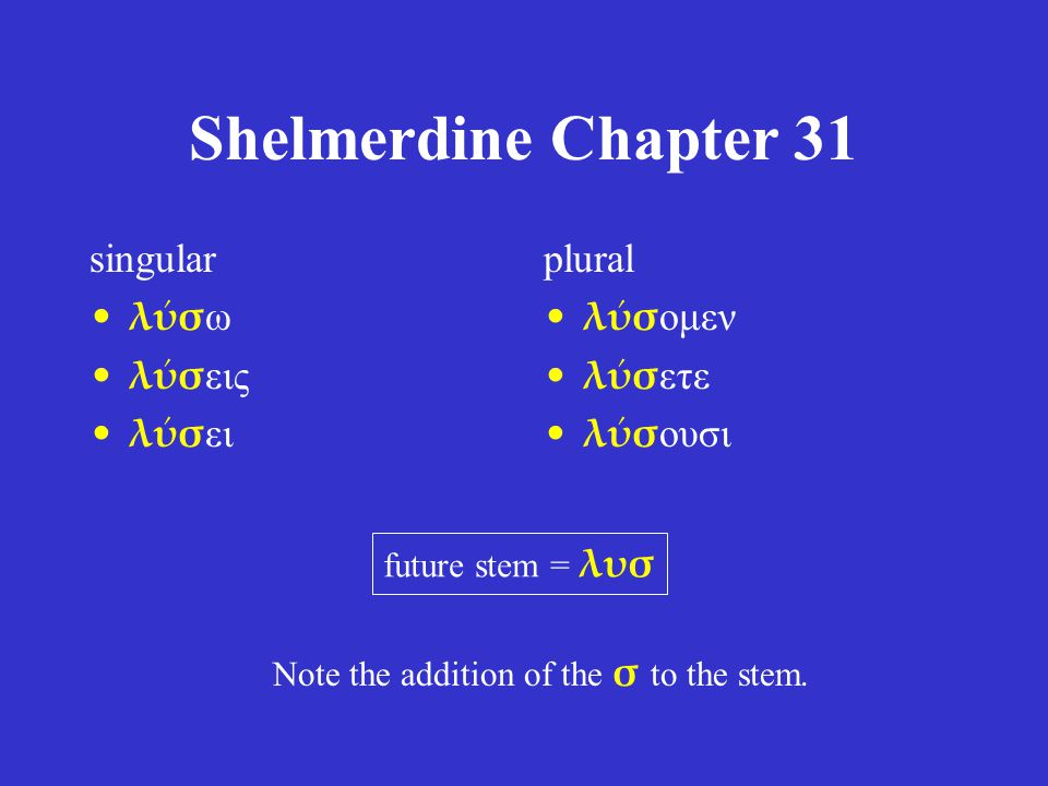 Shelmerdine Chapter 31 singular λύσω λύσεις λύσει plural λύσομεν