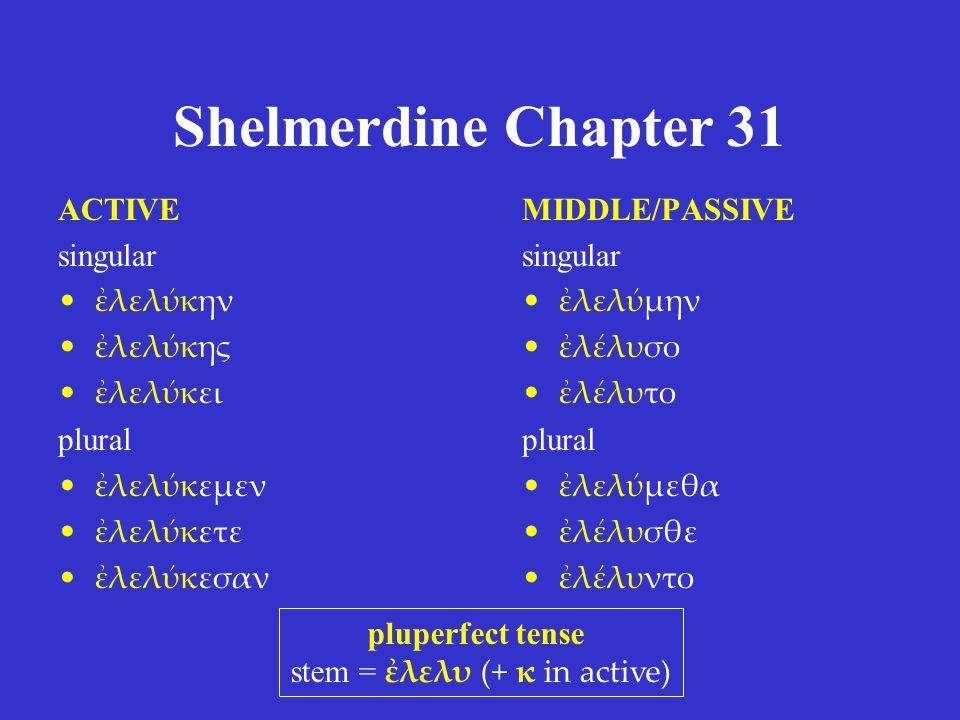 stem = ἐλελυ (+ κ in active)