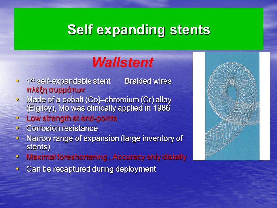 Wallstent Self expanding stents