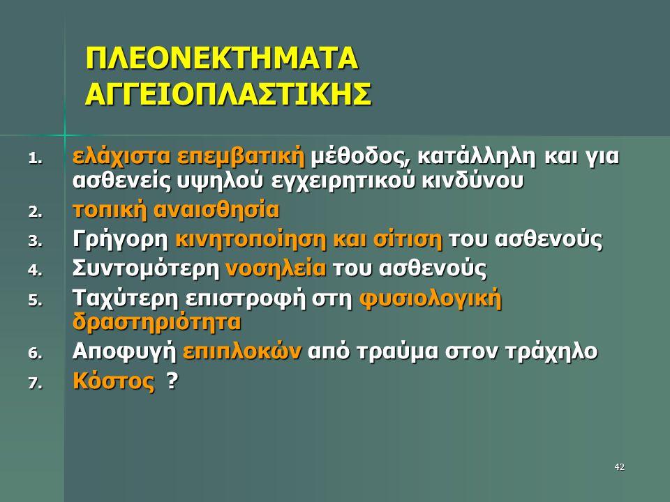 ΠΛΕΟΝΕΚΤΗΜΑΤΑ ΑΓΓΕΙΟΠΛΑΣΤΙΚΗΣ