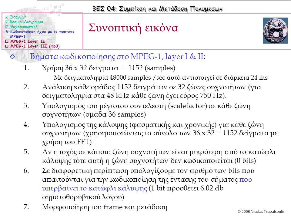Συνοπτική εικόνα Βήματα κωδικοποίησης στο MPEG-1, layer I & II: