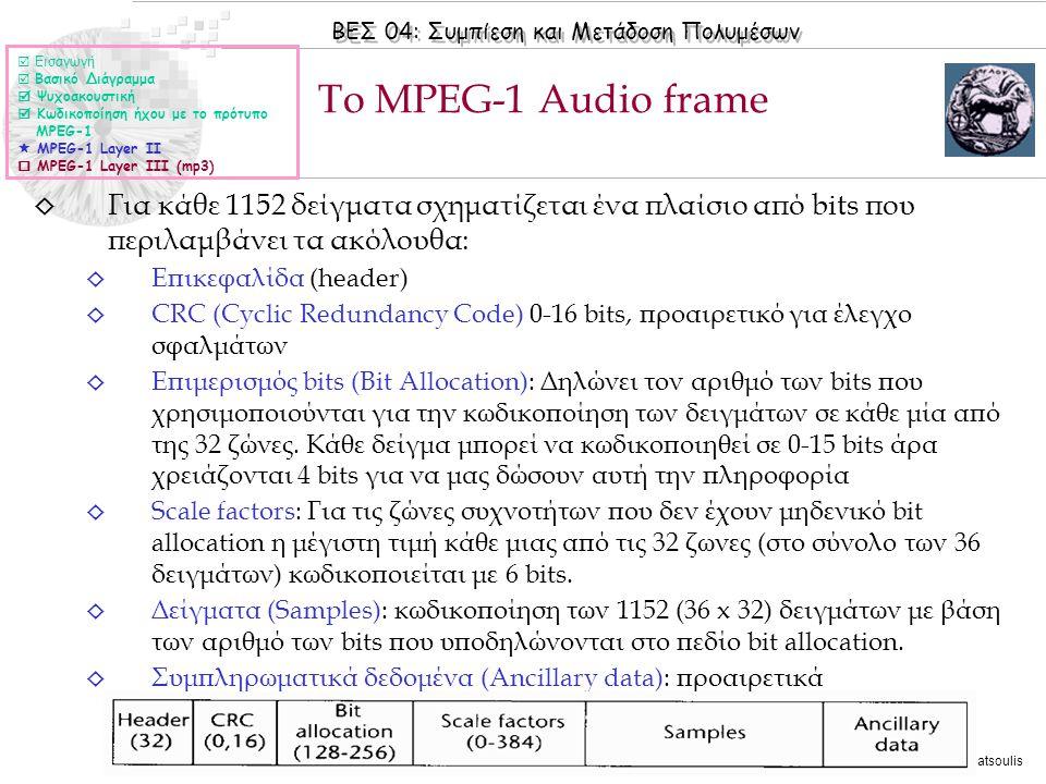  Εισαγωγή  Βασικό Διάγραμμα.  Ψυχοακουστική.  Κωδικοποίηση ήχου με το πρότυπο. MPEG-1.  MPEG-1 Layer II.