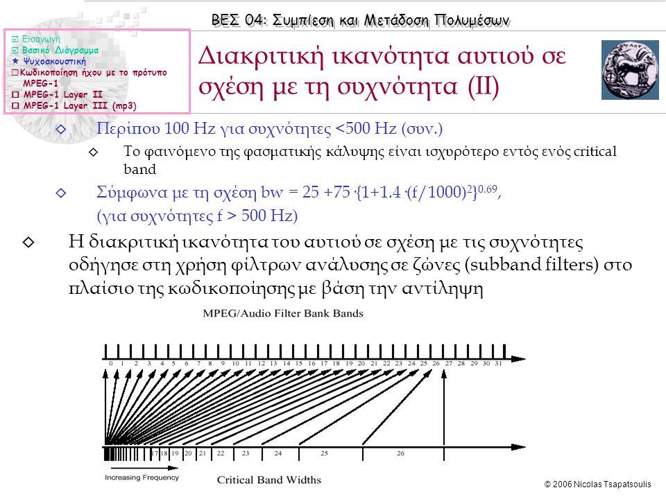 Διακριτική ικανότητα αυτιού σε σχέση με τη συχνότητα (ΙΙ)
