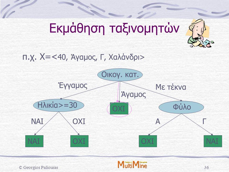Εκμάθηση ταξινομητών π.χ. X=<40, Άγαμος, Γ, Χαλάνδρι>