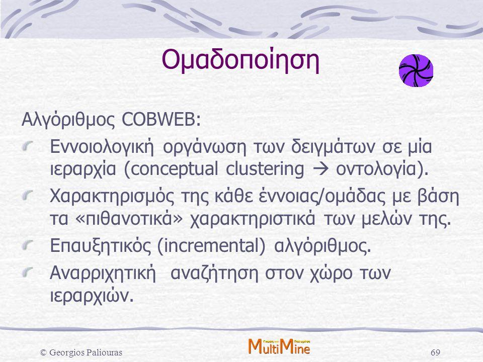 Ομαδοποίηση Αλγόριθμος COBWEB: