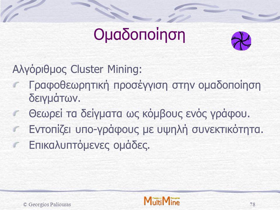 Ομαδοποίηση Αλγόριθμος Cluster Mining: