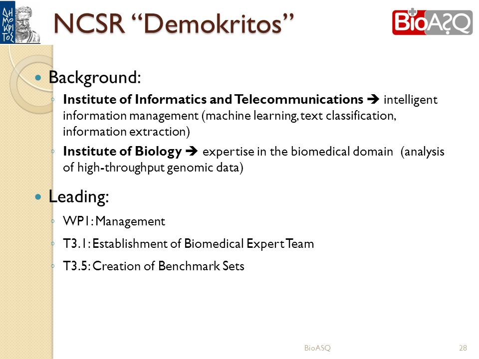 NCSR Demokritos Background: Leading: